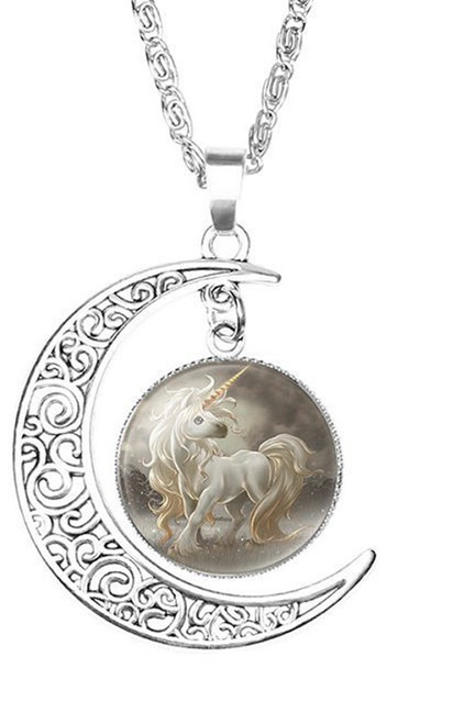 """resell for 15.00 or more Unicorn Silver Plated White Moon 52cm (20 4/8"""") long Style #WUN041318"""