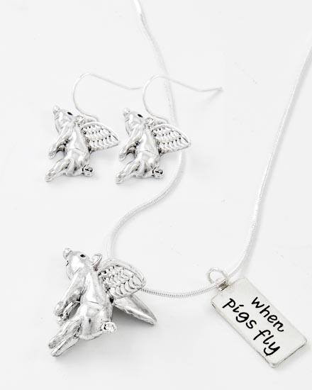 "When Pigs Fly / Antique Silver Tone / Lead&nickel Compliant / Metal / Animal / Pig W/ Message Pendant Necklace & Fish Hook Earring Set  •   LENGTH : 17"" + EXT •   PENDANT : 1"" L •   EARRING : 1 1/8"" L	 •   A.SILVER"