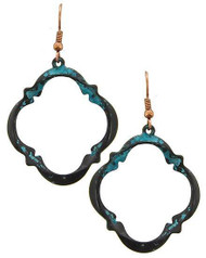 """resell for 18.00 or more Patina & Burnished Copper Tone / Lead&nickel Compliant / Metal / Fish Hook / Dangle / Earring Set  • WIDTH X LENGTH : 1 1/4"""" X 2 1/4"""" Style #PBCOE041618"""