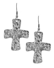 """resell for 18.00 or more Burnished Silver Tone / Lead&nickel Compliant / Metal / Fish Hook / Religious / Dangle / Cross / Earring Set  •   WIDTH X LENGTH : 1/4"""" X 2"""" •   B.SILVER  Style #HCE041618"""
