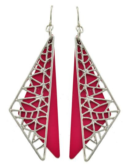 """resell for 12.00 or more Rhodiumized / Fuchsia Acrylic / Lead Compliant / Metal / Fish Hook / Dangle / Earring Set /  •   WIDTH X LENGTH : 3/4"""" X 3""""  •   SILVER/FUCHSIA Style #FDFWE041718"""