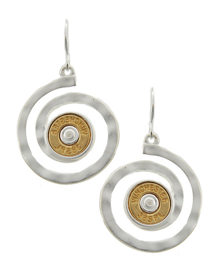 """resell for 33.00 or more Silver Plated & Matte Gold Tone / Lead, Nickel & Cadmium Safe Metal / Fish Hook / Dangle / Swirl / Western Theme / Bullet Winchester 38spl / Earring Set  •   WIDTH X LENGTH : 1"""" X 1 5/8"""" •   GOLD  Style #SBE041718"""