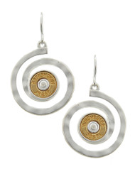 "resell for 33.00 or more Silver Plated & Matte Gold Tone / Lead, Nickel & Cadmium Safe Metal / Fish Hook / Dangle / Swirl / Western Theme / Bullet Winchester 38spl / Earring Set  •   WIDTH X LENGTH : 1"" X 1 5/8""	 •   GOLD  Style #SBE041718"