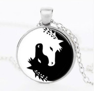 resell for 15.00 22 inch silver tone chain Yin Yang Horses Black White/ pewter Style #YYHN041818