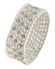 "resell for 55.00 or more Matte Silver Tone / Clear Rhinestone / Lead&nickel Compliant / Metal / Stretch / Bracelet Fits 7 to 8 inch •   SIZE FREE : STRETCH •   WIDTH : 1 1/8""	 •   MATT SILVER  Style #MSCB041818"
