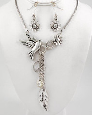 """resell for 33.00 or more Antique Silver Tone Metal / Clear Glass / Lead&nickel Compliant / Animal / Bird & Flower Faced / Assorted Charm Necklace & Fish Hook Earring Set /  •   LENGTH : 23"""" +EXT •   EARRING : 2"""" L •   DROP : 5 3/4"""" L •   A.SILVER/CLEAR  Style #BLNS041818"""