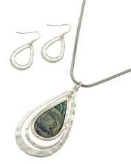 "resell for 33.00 or more Silver Plated & Silver Tone / Green Abalone Shell W/epoxy / Lead, Nickel & Cadmium Safe / Metal / Fish Hook (earrings) / Pendant / Graduating Teardrop / Necklace & Earring Set  •   LENGTH : 16"" + EXT •   PENDANT : 1"" X 2 1/8"" •   EARRING : 3/4"" X 1 1/2""	 •   SILVER/ABALONE  Style #STANS041818"
