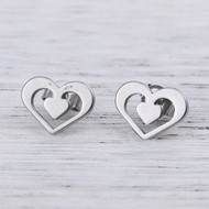 "resell for 9.00 or more 304 Stainless Steel Ear Post Stud Earrings Silver Tone Heart 11mm( 3/8"") x 9mm( 3/8""), Post/ Wire Size: (21 gauge) Style #SHPE041918"