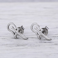 "resell for 9.00 or more 304 Stainless Steel Ear Post Stud Earrings Silver Tone Musical Instrument Guitar 14mm( 4/8"") x 6mm( 2/8""), Post/ Wire Size: (21 gauge) Style #SGPE041918"
