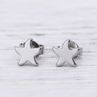 "resell for 9.00 or more 304 Stainless Steel Ear Post Stud Earrings Silver Tone Starfish 7mm( 2/8"") x 7mm( 2/8""), Post/ Wire Size: (21 gauge) Style #SSFPE041918"