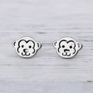 "resell for 9.00 or more 304 Stainless Steel Ear Post Stud Earrings Silver Tone Monkey Animal 10mm( 3/8"") x 7mm( 2/8""), Post/ Wire Size: (21 gauge) Style #SMPE041918"