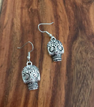 "Resell for 9.00 or more Pewter sugar skull 1"" Surgical steel ear wires Style #PRSE041918"