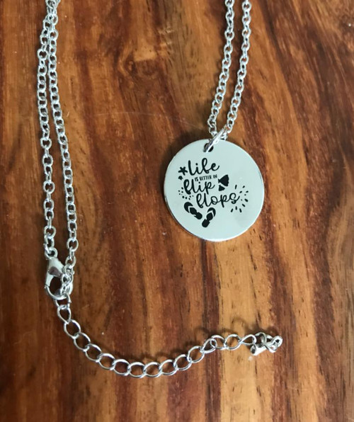 Resell for 15.00 or more Life us better in flip flops pendant 18 inch silver tone chain plus ext Style #LBFFN041918