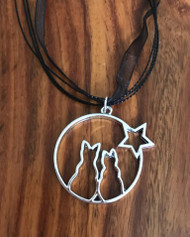 "Resell for 12.00 or more 17"" plus ext black organza Pewter silver plated kitty gazing pendant 1 3/4"" Style #GKON042018"