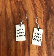 Resell for 9.00 or more Pewter live love laugh charm Surgical steel ear wires Style #LLLE042018