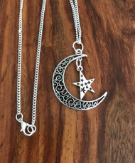 "Resell for 12.00 or more 24"" silver tone chain Pewter moon w star 1 5/8"" Style #MSN042018"