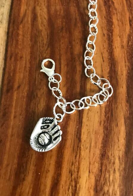 Resell for 12.00 or more 7 3/4 inch long charm bracelet Pewter baseball glove and ball charm Style #BBCB042018
