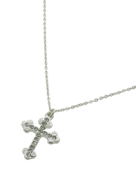 """resell for 18.00 or more Silver Tone / Clear Rhinestone / Lead&nickel Compliant / Religious / Cross / Delicate / Necklace  •   LENGTH : 16"""" + EXT •   PENDANT : 3/4"""" X 1""""  •   SILVER Style #STCCN042318"""