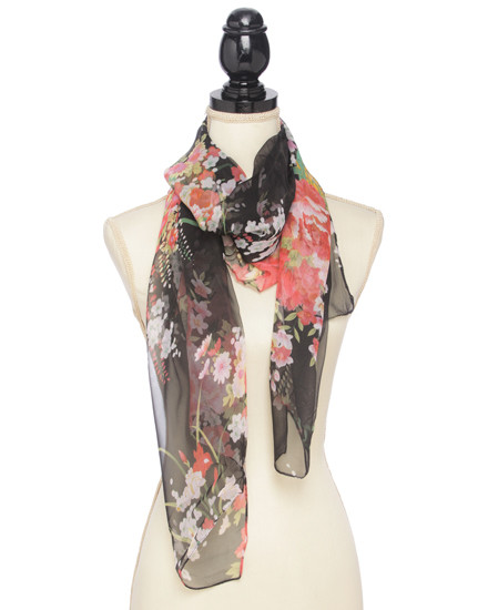 """**This purchase will also donate 1 scarf with earrings to a cancer patient** *Search scarves to find all the styles available resell for 40.00 or more Black / 100% Polyester Feel Silk / Flower Print Oblong Scarf / 2018 S/s  •   19 1/2""""X 63""""   •   100% POLYESTER   •   BLACK  Style #BLS042418"""