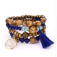 resell for 24.00 or more Fits 7 to 8 inch Boho Stretch Tree Of Life Hand Made Bracelets. Royal Blue, Gold Tone, Wood. Style #RBBSTLB042518