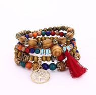 resell for 24.00 or more Fits 7 to 8 inch Red Boho Tassel Tree of Life Stretch Handmade Bracelet. Gold Tone. Red. Wood. Style #RBSTLB042518