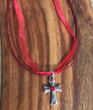 Resell for 12.00 or more 17 inch red organza plus ext chain Pewter cross red crystal Style #ROCN042618