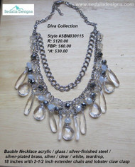 Bauble Necklace acrylic / glass / silver-finished steel / silver-plated brass / silver / clear, white, teardrop 18-inches w/2-1/2 inch extender chain and lobster clas clasp