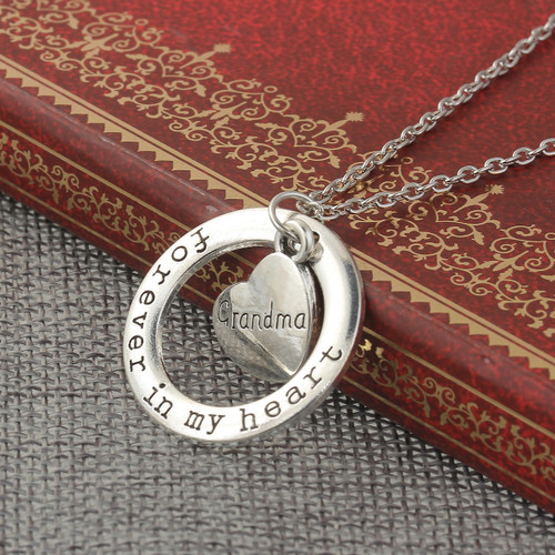Grandma heart pendant necklace sedalia designs resell for 1200 or more necklace antique silver circle ring heart message forever in my aloadofball Image collections
