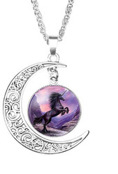 "resell for 15.00 or more Unicorn Antique Silver Purple Moon 51cm(20 1/8"") long Style #PUN042618"