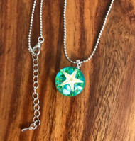 Resell for 12.00 or more Ocean jewelry resin cast/ green/ real starfish  20 inch silver tone ball chain 2 inch ext Style #SFRN042718