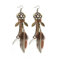 resell for 18.00 or more Bohemian  Dreamcatcher Drop Earrings Leaves Feather Ivory stone Dangle Earrings 5 inches long Style #BBFLDE042718