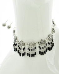 "resell for 25.00 or more Antique Silver Tone / Black Acrylic Seed Beads / Lead Compliant / Metal / Charm / Choker / •   LENGTH : 12 1/4"" + ext •   EARRING : 1/4"" DIA •   DROP : 1 1/2""	 •   B.SILVER/BLACK  Style #BSBCS042718"