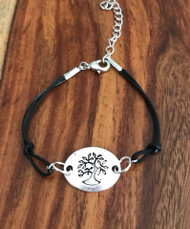 Resell for 9.00 or more Fits 7 to 8 inch plus ext Black cord Pewter tree of life bracelet Style #TLBCB043018