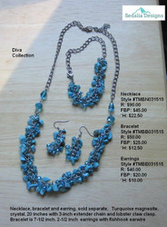 Turquoise magnesite, crystal, earrings . Necklace & bracelet  - each sold separately.