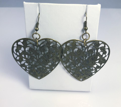 Resell for 12.00 or more Antiqued brass heart Light weight  2 inch by 1 3/4  Steel earwires Style #ABHE043018