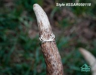 Sterling Silver Antler Ring  Open Size, ring is open in back.  approx size without bending = 7