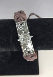 Resell for 12.00 or more  Bracelet  Fits 7 to 9 inch  Brown, leather, pewter, anchor, cotton cord Chinese knot Style #LCAB0503018