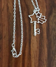 Resell for 12.00 or more 20 inch silver tone chain  Plated pewter shooting star key pendant 1 1/2 inch Style #SSKN050318