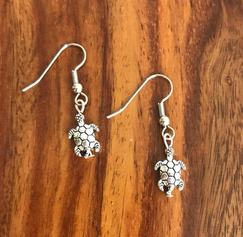 Resell for 9.00 or more 3D pewter turtle  Surgical steel ear wires Style #TE050318