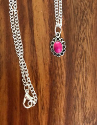 Resell for 9.00 or more 18 inch silver tone chain Hot pink German acrylic in pewter bezel Style #HPTPN050418