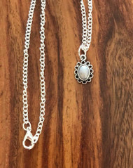 Resell for 9.00 or more 18 inch silver tone chain Pewter bezel German acrylic grey pearl Style #GTPN050418