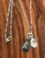 Resell for 15.00 or more 20 inch silver tone figaro chain Crystal teardrop Grey tassel Style #GCTN050418