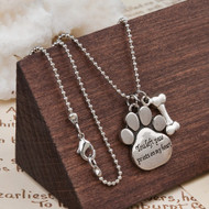 "resell for 12.00 or more Copper Pet Memorial Necklace Antique Silver & Silver Tone Footprint Bone Message 57.5cm(22 5/8"") long Style #PPMN050518"