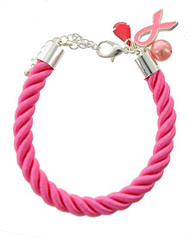 """resell for 12.00 or more Silver Tone / Pink / Rope & Synthetic Pearl & Epoxy / Lead Compliant / Lobster-claw / Pink Ribbon Charm / Bracelet /  •   LENGTH : 8"""" + EXT •   POINT ACCESSORY : 1/2"""" X 1""""5/16""""  •   PINK Style #PRB050818"""