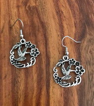 Resell for 9.00 or more Pewter hummingbird earrings Surgical steel earwires 1 inch Style #HBE051118