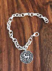 Resell for 12.00 or more Silver tone charm bracelet  Fits to 8 inch Pewter unicorn Style #UB051118