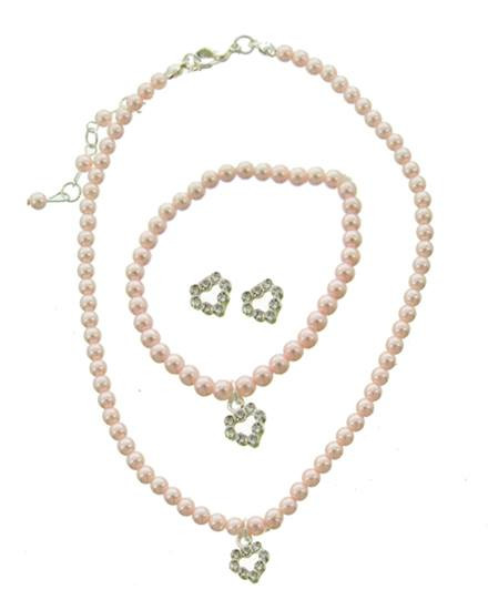 """resell for 27.00 or more Little Girls Silver Tone / Pink Synthetic Pearl & Clear Rhinestone / Lead Compliant / Heart / Kids Necklace, Post Earring & Stretch Bracelet  •   NECKLACE : 12"""" + EXT •   EARRING : 3/8"""" X 5/16"""" •   BRACELET : STRETCH •   POINT ACCESSORY : 3/8"""" X 1/2""""  •   SILVER/PINK Style #PPKS051418"""