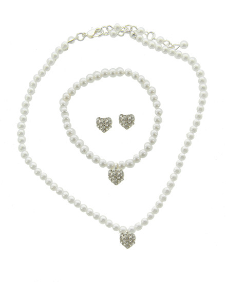 "resell for 27.00 or more childrens' jewelry Silver Tone / White Synthetic Pearl & Clear Rhinestone / Lead Compliant / Heart / Kids Necklace, Post Earring & Stretch Bracelet  •   NECKLACE : 11 3/4"" + EXT •   EARRING : 5/16"" X 5/16"" •   BRACELET : STRETCH •   POINT ACCESSORY : 5/16"" X 7/16""	 •   SILVER/WHITE  Style #WPKS051418"