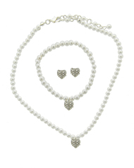 """resell for 27.00 or more childrens' jewelry Silver Tone / White Synthetic Pearl & Clear Rhinestone / Lead Compliant / Heart / Kids Necklace, Post Earring & Stretch Bracelet  •   NECKLACE : 11 3/4"""" + EXT •   EARRING : 5/16"""" X 5/16"""" •   BRACELET : STRETCH •   POINT ACCESSORY : 5/16"""" X 7/16"""" •   SILVER/WHITE  Style #WPKS051418"""