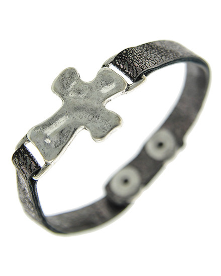 "resell for 36.00 or more Burnished Silver Tone / Grey Leatherette / Lead&nickel Compliant / Snap Button / Religious / Cross / Bracelet  •   LENGTH : 7"" - 7 1/2"" •   TOP FACE : 1"" X 3/4""	 •   SILVER/GREY  Style #GLCB051518"